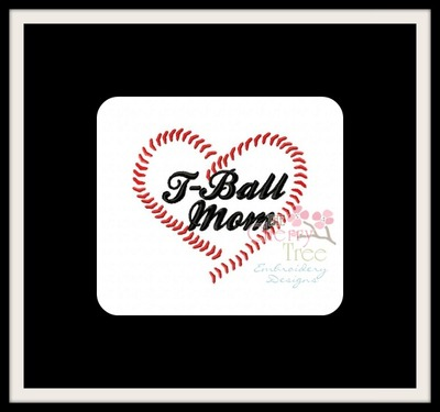 T-Ball Baseball Mom Heart Stitches
